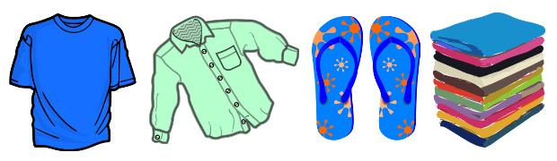 服装関連の持ち物、Tシャツ、羽織るシャツ、ビーチサンダル、タオル