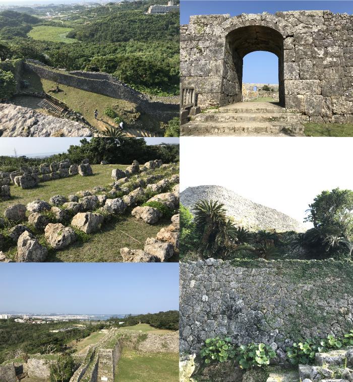 世界遺産の中城城跡のアーチ型の門や絶景ポイントなどの写真コラージュ
